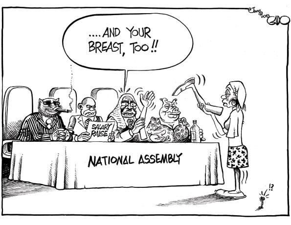 Veteran cartoonist Gado on official  greed.